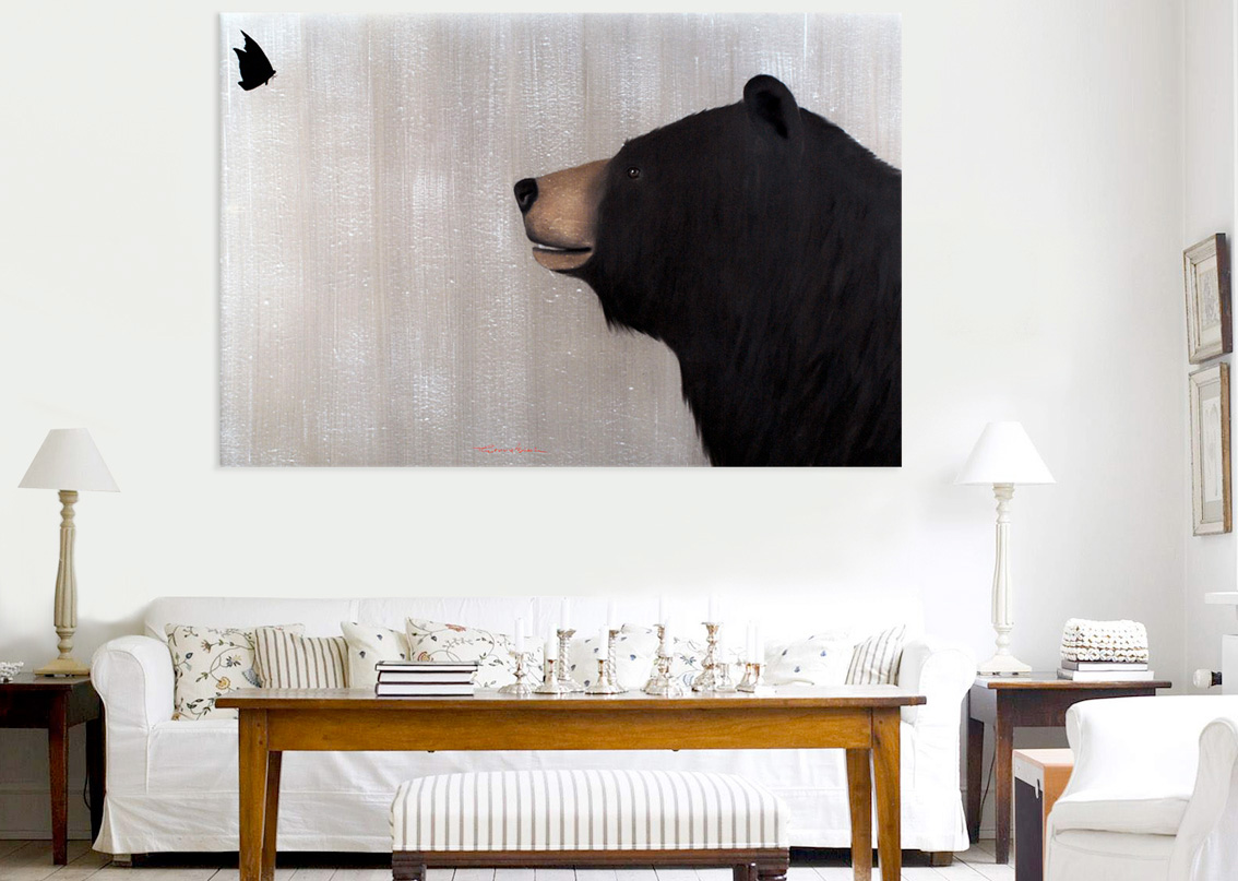 SPRING grizly-bear-deco-decoration-large-size-printed-canvas-luxury-high-quality- Thierry Bisch painter animals painting art decoration hotel design interior luxury nature biodiversity conservation
