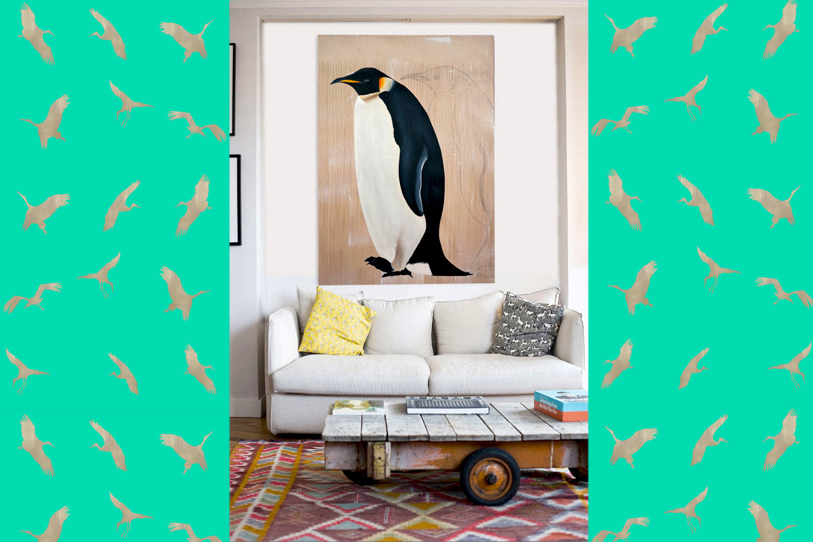 MANCHOT-EMPEREUR penguin-emperor-deco-decoration-large-size-printed-canvas-luxury-high-quality Thierry Bisch painter animals painting art decoration hotel design interior luxury nature biodiversity conservation