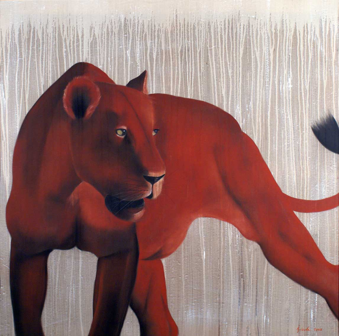 RED LIONESS divers Thierry Bisch painter animals painting art decoration hotel design interior luxury nature biodiversity conservation