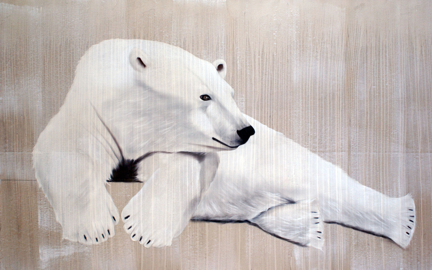 RELAXING POLAR BEAR 1 divers Thierry Bisch painter animals painting art decoration hotel design interior luxury nature biodiversity conservation