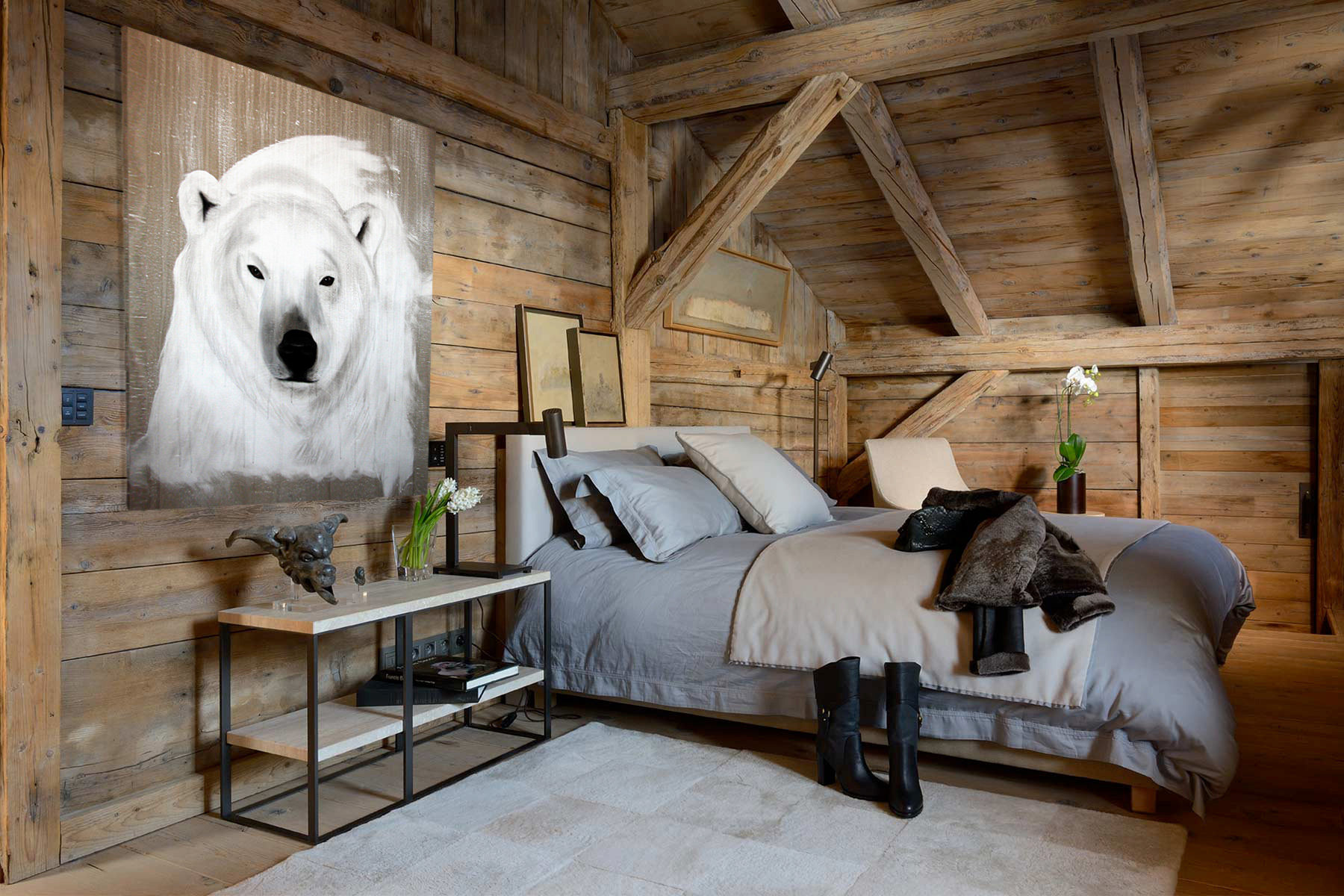 POLAR-BEAR---5 polar-bear Thierry Bisch painter animals painting art decoration hotel design interior luxury nature biodiversity conservation
