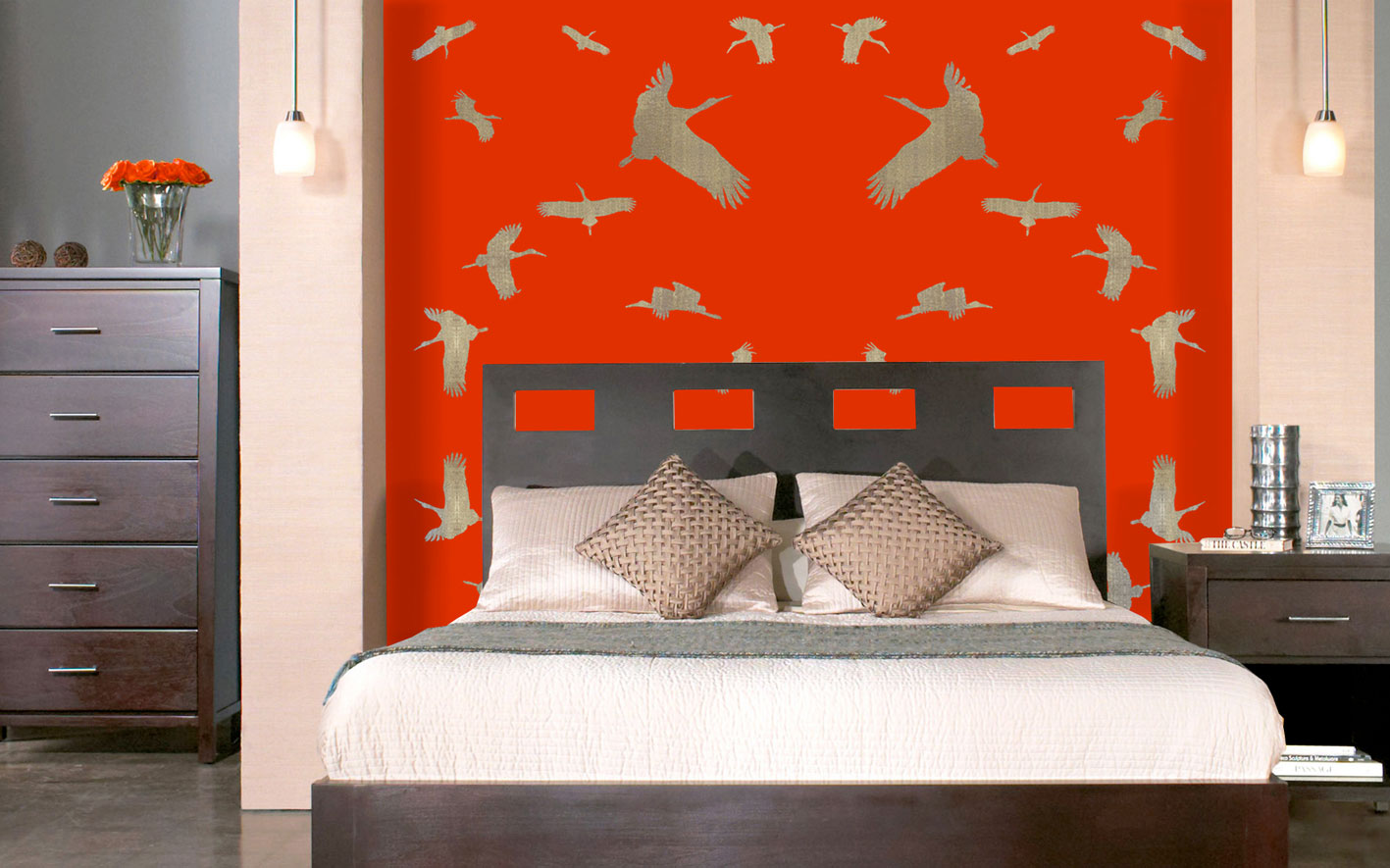 Chinese-Bedroom divers Thierry Bisch painter animals painting art decoration hotel design interior luxury nature biodiversity conservation