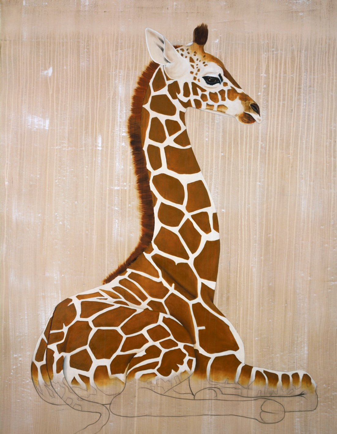 GIRAFE de Rothschild divers Thierry Bisch painter animals painting art decoration hotel design interior luxury nature biodiversity conservation
