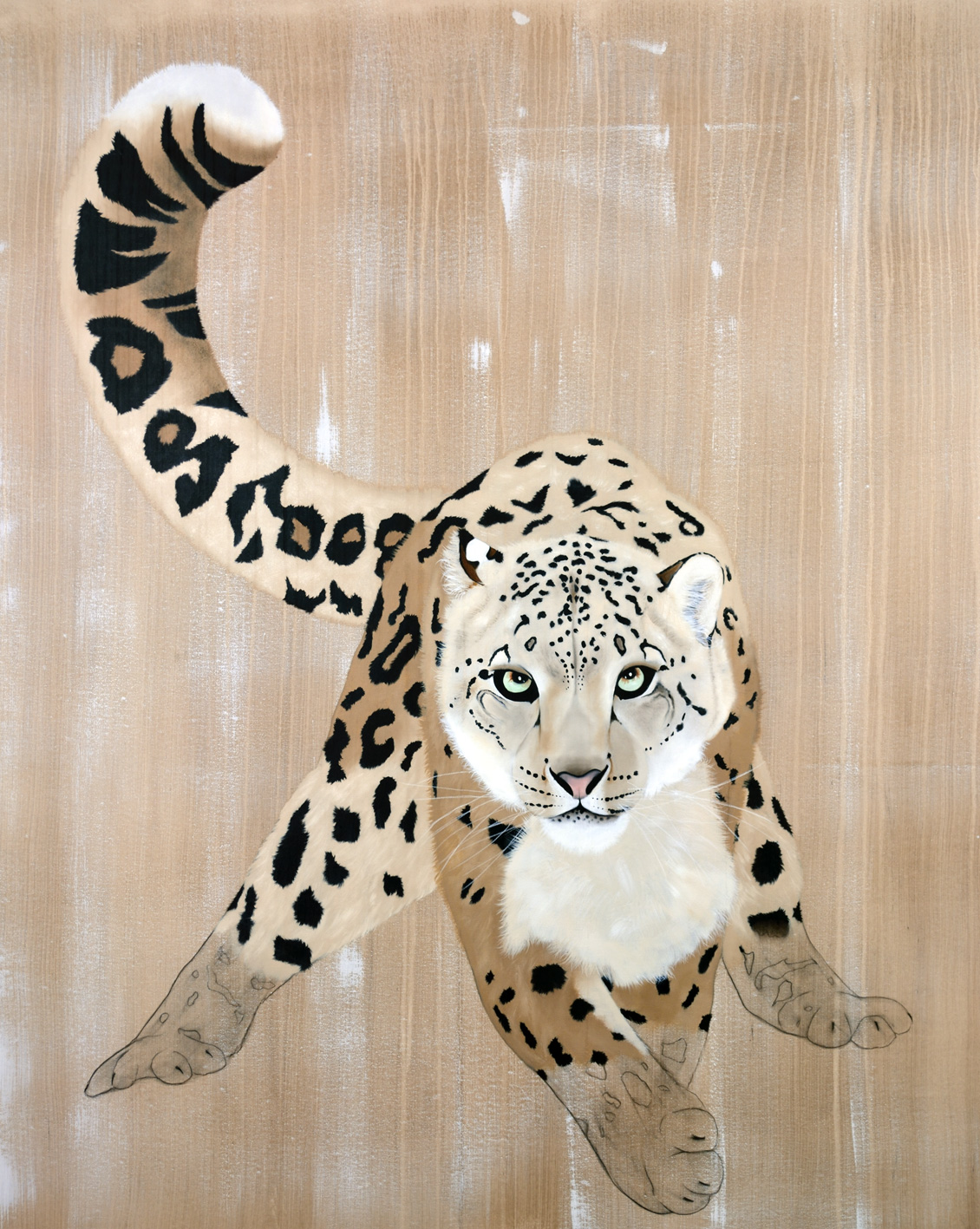 PANTHERA-UNCIA-2 divers Thierry Bisch Contemporary painter animals painting art decoration nature biodiversity conservation
