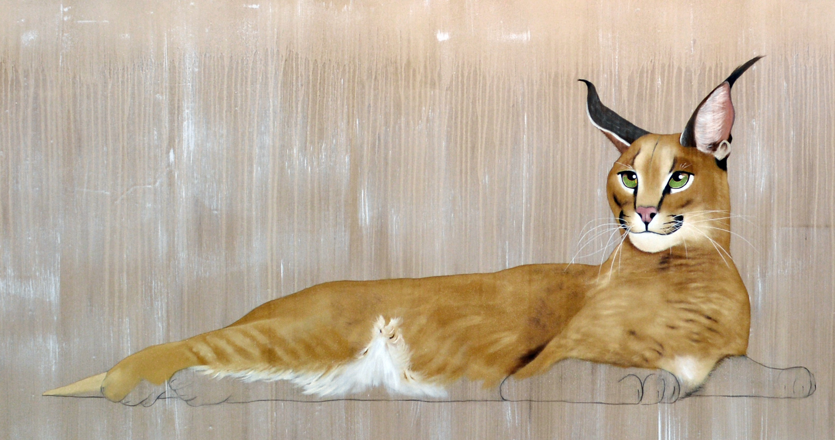CARACAL divers Thierry Bisch painter animals painting art decoration hotel design interior luxury nature biodiversity conservation
