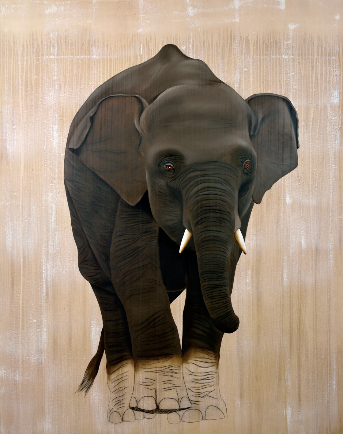 ELEPHAS MAXIMUS divers Thierry Bisch Contemporary painter animals painting art decoration nature biodiversity conservation