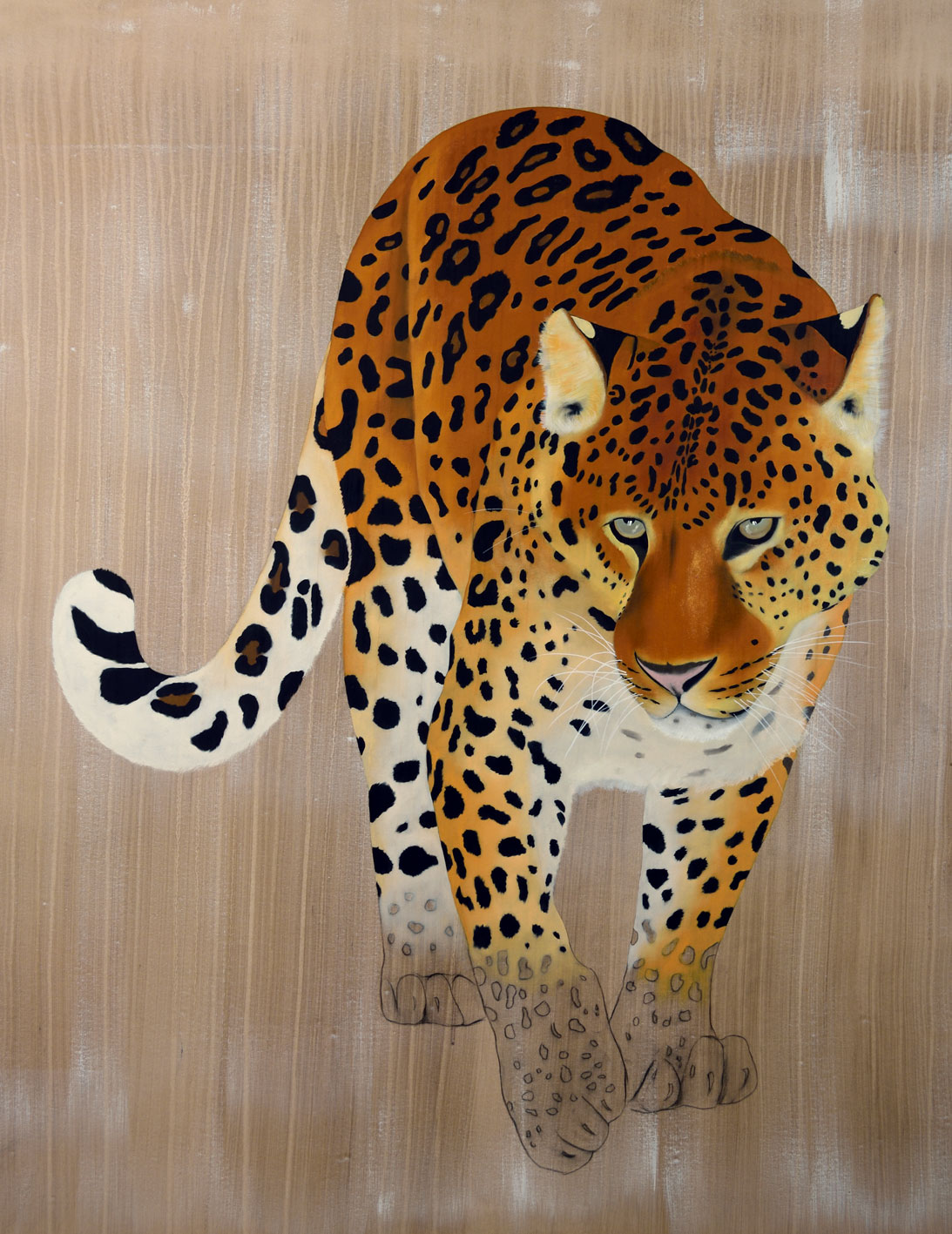 PANTHERA PARDUS ORIENTALIS divers Thierry Bisch painter animals painting art decoration hotel design interior luxury nature biodiversity conservation