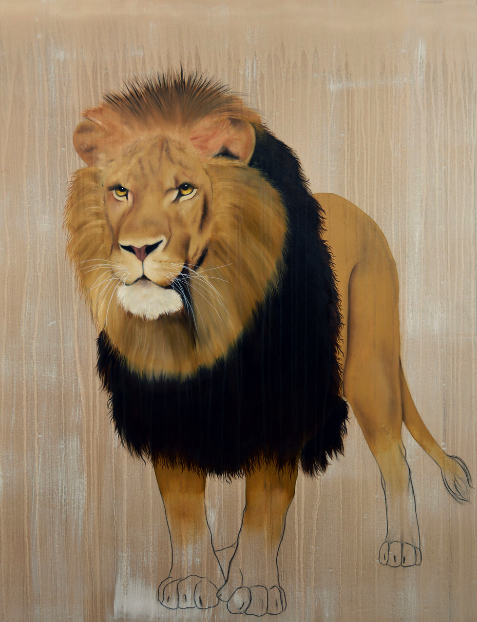 PANTHERA-LEO divers Thierry Bisch Contemporary painter animals painting art decoration nature biodiversity conservation