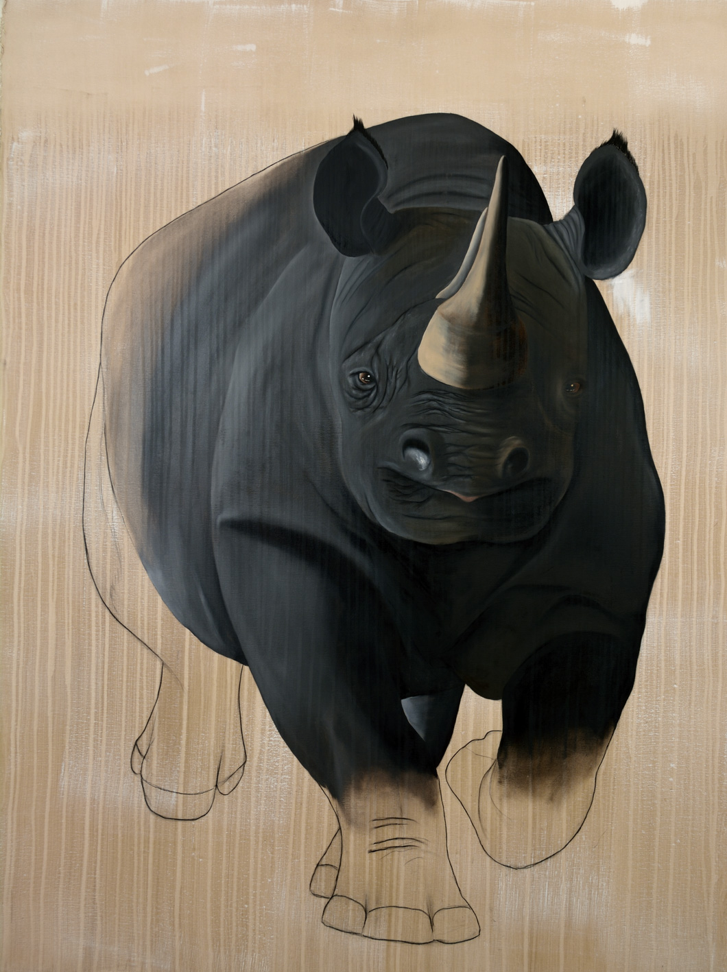 RHINOCEROS-NOIR divers Thierry Bisch Contemporary painter animals painting art decoration nature biodiversity conservation