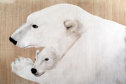 polar bear female mother and cub Thierry Bisch painter animals painting art decoration hotel design interior luxury nature biodiversity conservation