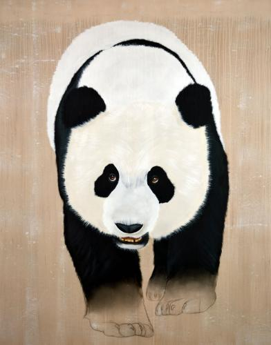 panda giant ailuropoda melanoleuca threatened endangered extinction Thierry Bisch Contemporary painter animals painting art decoration nature biodiversity conservation