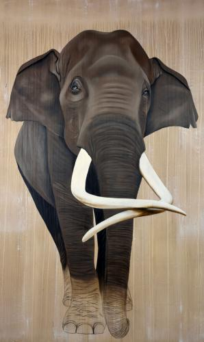 elephant indian asian threatened endangered extinction Thierry Bisch Contemporary painter animals painting art decoration nature biodiversity conservation