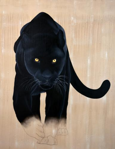 black panther java leopard threatened endangered extinction Thierry Bisch Contemporary painter animals painting art decoration nature biodiversity conservation