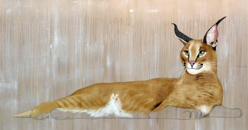 caracal Thierry Bisch Contemporary painter animals painting art decoration nature biodiversity conservation