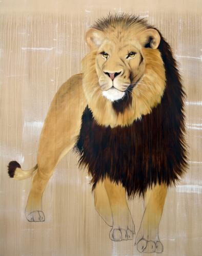 atlas lion panthera leo Thierry Bisch Contemporary painter animals painting art decoration nature biodiversity conservation