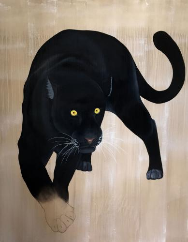 panthera pardus melas black panther delete threatened endangered extinction Thierry Bisch Contemporary painter animals painting art decoration nature biodiversity conservation
