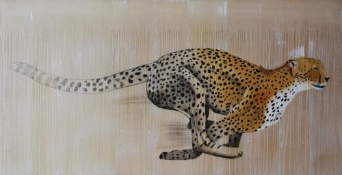 cheetah acynonyx jubatus delete threatened endangered extinction Thierry Bisch Contemporary painter animals painting art decoration nature biodiversity conservation