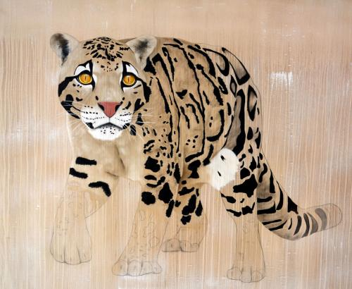 clouded leopard neofelis nebulosa delete threatened endangered extinction Thierry Bisch Contemporary painter animals painting art decoration nature biodiversity conservation