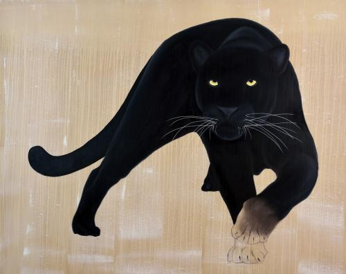 black panther panthera pardus melas delete threatened endangered extinction Thierry Bisch Contemporary painter animals painting art decoration nature biodiversity conservation