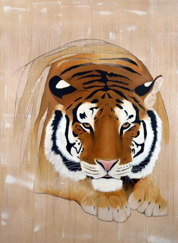tiger panthera tigris delete threatened endangered extinction Thierry Bisch Contemporary painter animals painting art decoration nature biodiversity conservation
