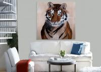 PANTHERA TIGRIS ALTAICA tiger-royal-siberian-panthera-tigris-decoration-large-size-printed-canvas-luxury-high-quality Thierry Bisch painter animals painting art decoration hotel design interior luxury nature biodiversity conservation