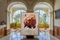 MAIRIE DE MONACO banteng-bos-javanicus-asian-red-bull-threatened-endangered-extinction Thierry Bisch Contemporary painter animals painting art  nature biodiversity conservation