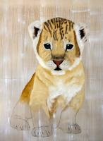 PANTHERA LEO PERSICA panthera-leo-lion-cub-delete-threatened-endangered-extinction- Thierry Bisch Contemporary painter animals painting art  nature biodiversity conservation